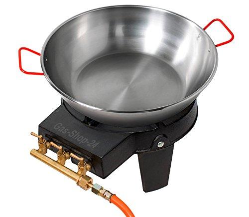 Wokbrenner Set  Gaskocher 92 KW mit Gasschlauch  Druckminderer  40 cm Stahl Wokpfanne  Paellapfanne Gusseisen Hockerkocher Asia Kocher Gastrokocher Gasherd Campingkocher für Wok