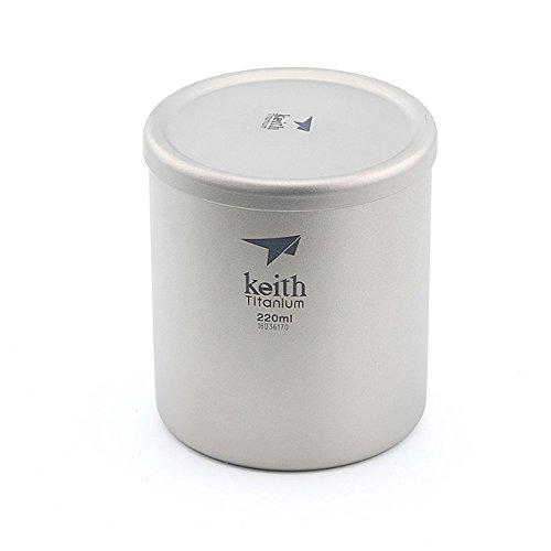 Keith 220 ml600 ml Titan Becher Saugnapf Doppelwandig Ultraleicht Titan Becher Tassen Leichte Tragbare Camping Wandern Ti3301-220ml
