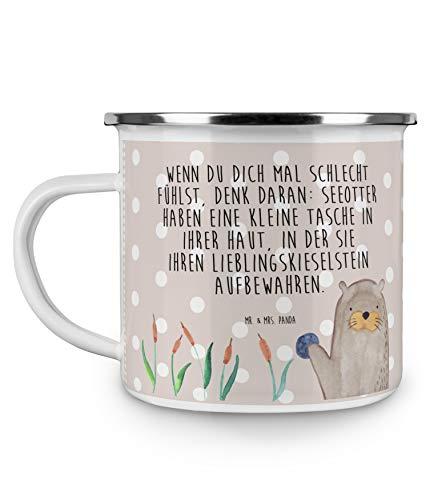 Mr Mrs Panda Emaille Tasse Otter mit Stein - Otter Seeotter See Otter Emaille Tasse Metalltasse Kaffeetasse Tasse Becher Kaffeebecher Camping Campingbecher