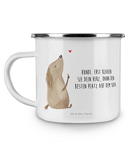 Mr Mrs Panda Metalltasse Becher Emaille Tasse Hund Liebe mit Spruch - Farbe Weiß