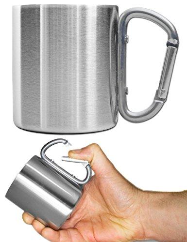 Outdoor Saxx - Outdoor Becher Camping Tasse  kompakt leicht 200 ml mit geschraubtem Karabiner-Griff Edelstahl  für Wandern Trekking Arbeit