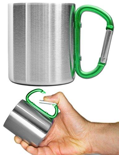 Outdoor Saxx Outdoor-Becher Camping-Tasse  kompakt leicht 200 ml mit geschraubtem grünem Karabiner-Griff Edelstahl  für Wandern Trekking Arbeit