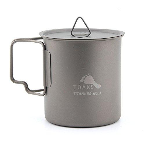TOAKS CUP-450-C Ultraleicht Outdoor Geschirr Titanium Becher Klappgriff Wasser Tasse Mit Deckel