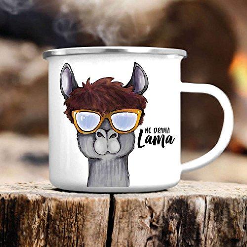 """Wandtattoo-Loft Campingbecher aus Emaille Bedruckt """"No Drama Lama"""" mit süßem Lama Emaille TasseBecher mit MotivOutdoorKindertassesilberner Tassenrand"""