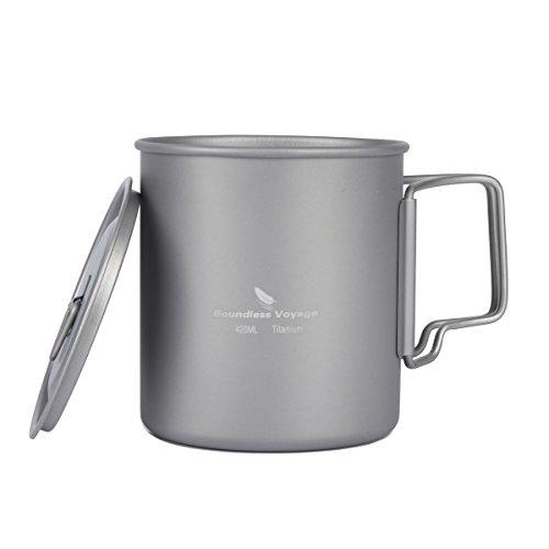 iBasingo 420ml Titan Becher mit Deckel Kaffeebecher Wasser Trinken Tasse mit Falten Griff für Camping Backpacking Picknick Reisen im Freien Ultraleicht 892g