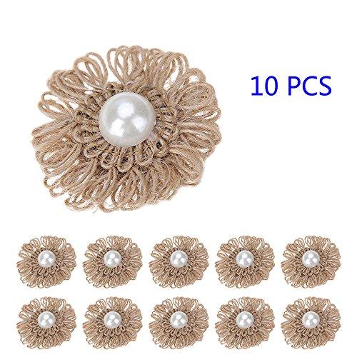 10pcs Jute Blumen mit Perlen diy handgemachte Jute künstliche Blumen Verzierungen dimensional Aufkleber Hochzeit Weihnachtsschmuck dekorative Vintage Hut Zubehör