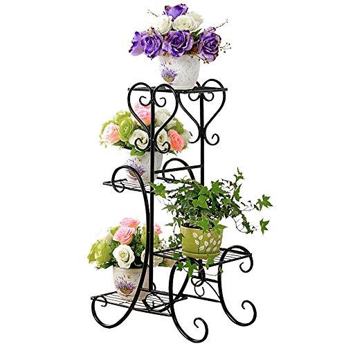 Malayas Blumenständer Blumentreppe für 4 Blumentopfe 4 Etagen geschwungenes dekoratives Design Metall für Blumen Pflanzen Dekoration in HausGartenTerrasse stufenförmig Blumenregal Schwarz
