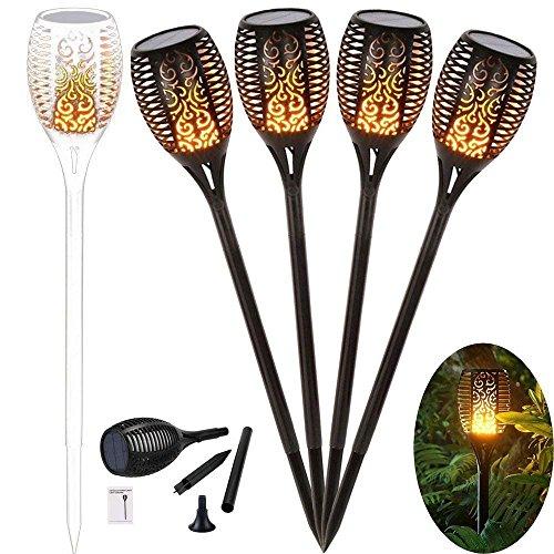 4 Stück Solar Garten Flammen Fackeln 96 LED Bis Dawn Automatische EinAusLicht SensorSolarlampe Gartenleuchte Garten Beleuchtung Garten Licht mit Wasserdicht IP65