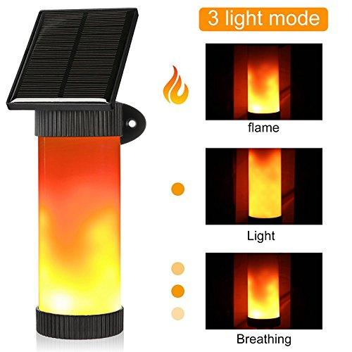 Tofree Flamme Lampe Solarleuchten Flamme Solar Fackel Garten Wasserdicht IP65 LED Solarlampe Flammenlicht Wandleuchte