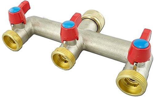 3-Wege Verteiler Wasseranschluß mit Absperrhähnen U-Verteiler Gewinde 34 Zoll Anschluss von Geräten SBS Kühlschrank Spül- Waschmaschine Zulaufschlauch Gartenschlauch flachdichtend 3-Fach-Ventile