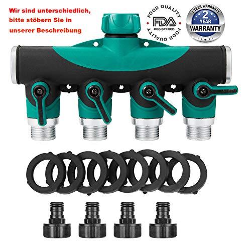 4-Wege-Verteiler Multifunktional Wasserhahn Wasserdurchfluss regulier und absperrbar optimaler Wasserhahn Verteiler zum praktischen Einsatz im Garten Und waschmaschine 2-jährige Qualitätssicherung