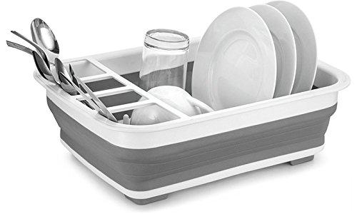 Abtropfgestell für Küchenspüle zusammenklappbar zusammenklappbar WeißGrau