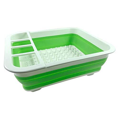 Vinsani Abtropfgestell zusammenklappbar hochwertig für Besteck Teller Abtropfen Einheitsgröße weißgrün