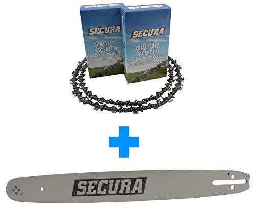 2 Sägeketten Vollmeißel  1 Schwert passend Husqvarna 136 37cm 0325-15-64