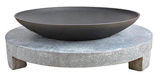 Esschert Design Feuerschale Granito runder Sockel schwarz 68x68x23 cm FF137