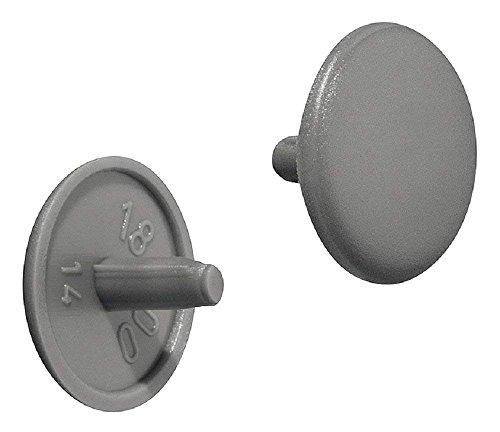 Gedotec Möbel-Abdeckkappen rund Schrauben-Abdeckungen Kunststoff Verschluss-Stopfen grau RAL 7037  Modell Nr H1115  Schrauben-Kappen für Kopflochbohrung PZ2  Ø 12 x 25 mm  20 Stück