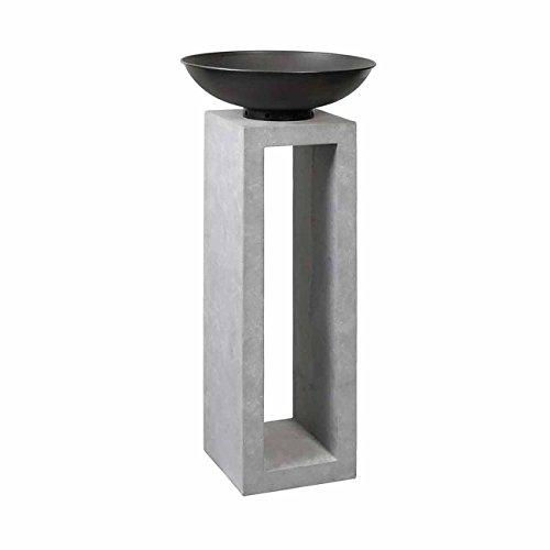 OUTLIV Feuersäule Garten Feuerschale auf Säule Design Gartendeko 50x50x105cm MetallClayfibre-Leichtbeton Zement-Grau