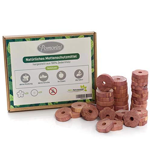 Natürlicher Mottenschutz Zedernholz Pomorini 40 Mottenringe 100 natürliches Produkt Chemikalien frei Lange andauernd Mottenschutzmittel für Kleiderschränk und Küchenschränk Lebensmittelecht