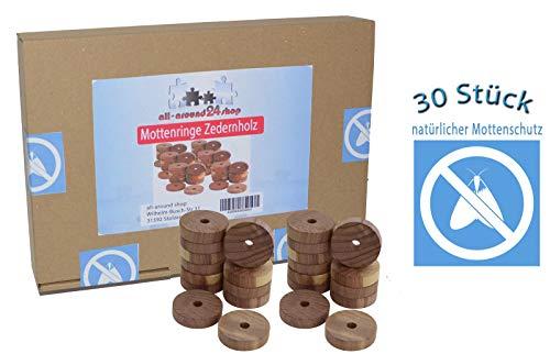 all-around24 30 Stück Mottenschutz aus ZedernholzMottenringe Mottenschutz Bügelringe gegen Motten 30 St