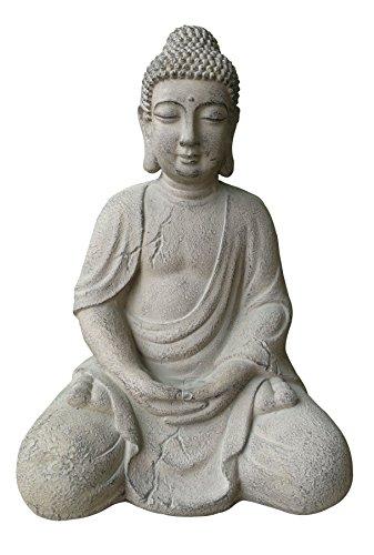 7even Deko Buddha sitzend 43cm hoch Fiberstone robust Wetterfest Buddha Figur Feng Shui Dekoration Garten-Figur Buddha-Statue und Buddha-Skulptur