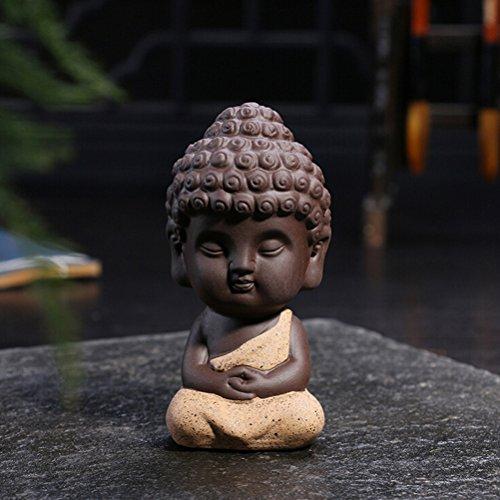 Niedliche Buddha-Statue von Jettingbuy kleine Mönchfigur Tathagata indische Yoga-Mandala-Skulpturen Meditation