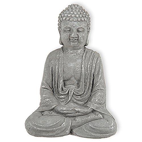 Buddha Statue Figur Skulptur Asia Feng Shui Aufsteller aus Beton in Stein-finish