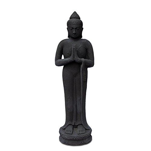 FaHome Buddha Skulptur stehend aus Lavasand Stein - Ca 120 cm groß  Deko Statue Figur Guss massiv Schwarz