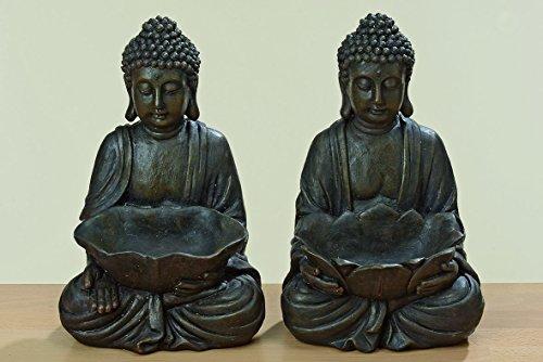 Fernöstlicher Buddha Figur mit Schale Skulptur Kunstharz 30cm Gartenfigur Geschenk