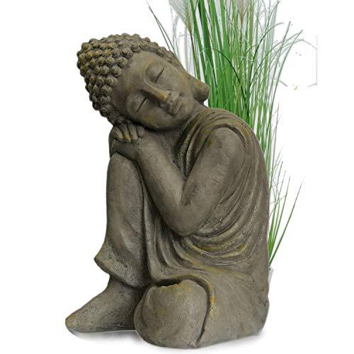 INtrenDU Garten Buddha in klasse Messingoptik aus Stein Statue Figur Skulptur Deko