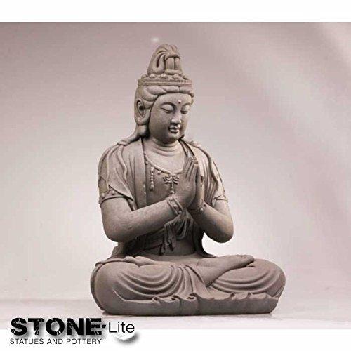 XXL Buddha Skulptur Gartendeko KWAN YIN sitzend steingrau Höhe 59 cm