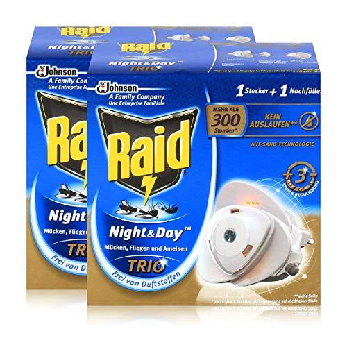 2x Raid Night Day Trio Insekten Stecker Nachfüller gegen Mücken Fliegen Ameisen