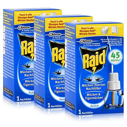 3x Raid Mücken Stecker Nachfüller für ca 45 Nächte Mückenfrei