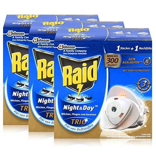 3x Raid Night Day Trio Insekten Stecker Nachfüller gegen Mücken Fliegen Ameisen