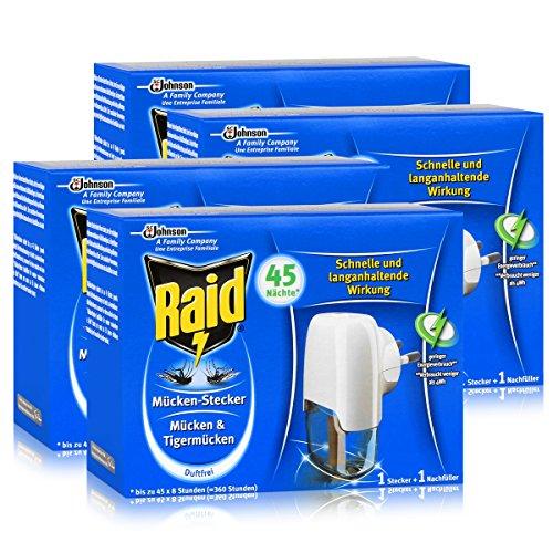 4x Raid Mücken Stecker und Nachfüller für ca 45 Nächte Mückenfrei