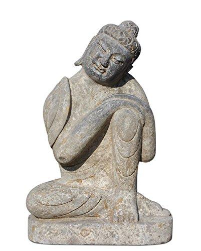 Asien Lifestyle Buddha-Figur aus Stein 61 cm für den Garten