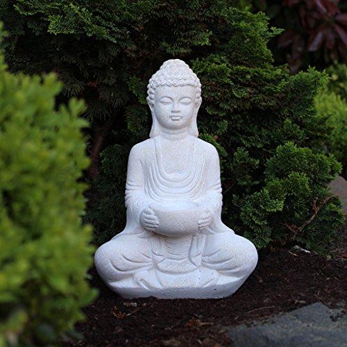 Buddha Deko-Figur Aus Stein Sitzend 30cm Skulptur Mit Teelichthalter Für Wohnzimmer Oder Garten
