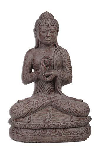 Ciffre Großer 60cm Lava Stein Buddha Mönch Antik Look Massiv Steinfigur Skulptur Feng Shui Garten Deko Wetterfest Lawa Steinguss Ca 30 Kilo STB5