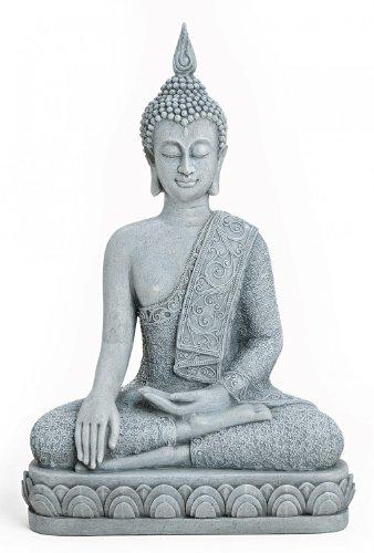 Deko Figur Buddha Figur Akshobhya sitzend Höhe 39 cm groß in Stein Optik aus Polystein grau asiatische Gottheit Dhyani-Buddha Buddhafigur auf Lotus Thron