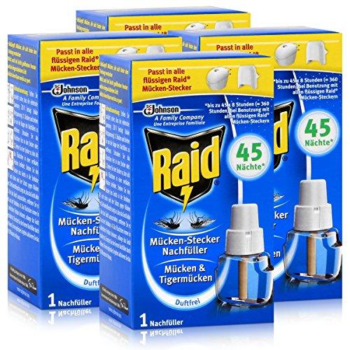 4x Raid Mücken Stecker Nachfüller für ca 45 Nächte Mückenfrei