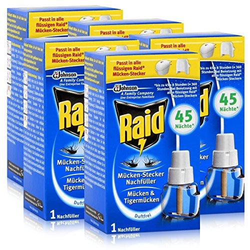 5x Raid Mücken Stecker Nachfüller für ca 45 Nächte Mückenfrei