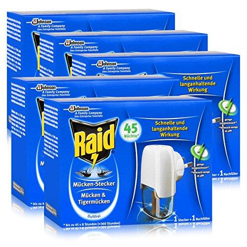 5x Raid Mücken Stecker und Nachfüller für ca 45 Nächte Mückenfrei