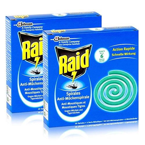 Raid Anti-Mückenspirale 10 Spiralen - Gegen Mücken und Tigermücken 2er Pack