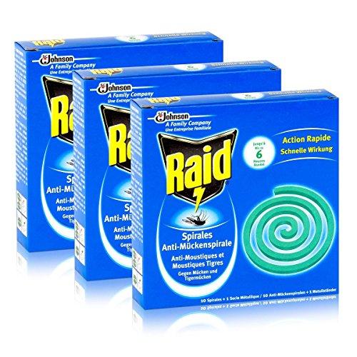 Raid Anti-Mückenspirale 10 Spiralen - Gegen Mücken und Tigermücken 3er Pack