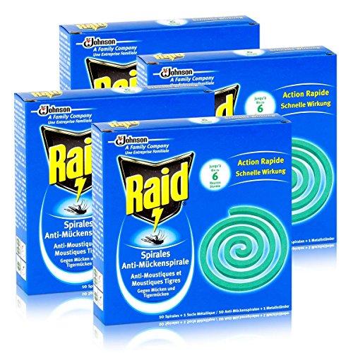 Raid Anti-Mückenspirale 10 Spiralen - Gegen Mücken und Tigermücken 4er Pack