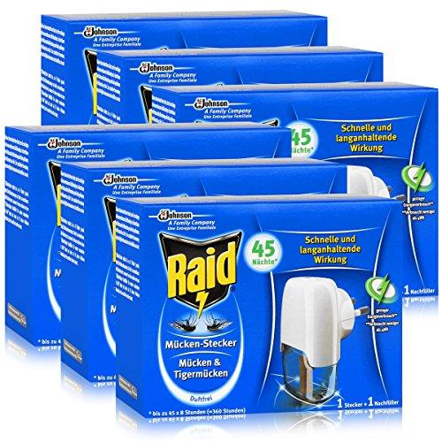 Raid Mücken-Stecker inkl Nachfüller - Gegen Mücken Tigermücken - Schützt bis zu 45 Nächte jeweils 8 Stunden - Schnelle und langanhaltende Wirkung - Duftfrei 6er Pack