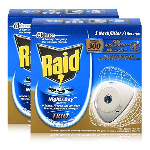 Raid x2 Night Day Trio Insekten Nachfüller für Stecker gegen Mücken Fliegen Ameisen