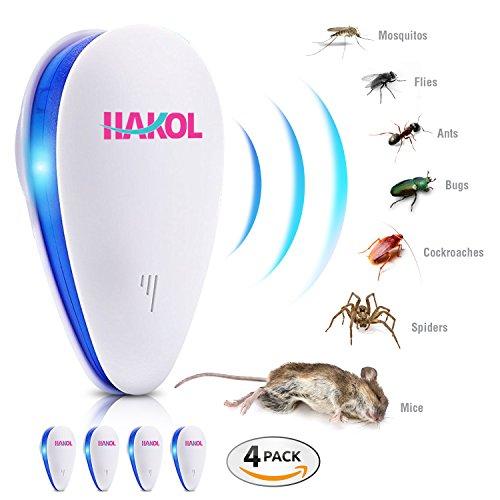 HAKOL Ultraschall-Parasitenabwehr-Set - Elektronisches Abwehrmittel für Mäuse Ratten Insekten Spinnen Wanzen Mücken Ameisen und andere 4er-Packs