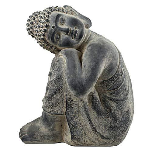 SVITA Buddha XL Buddha in verschiedenen Varianten Figur Asien Statue Skulptur Feng Shui Stein-Optik grau 48 cm Schlafend