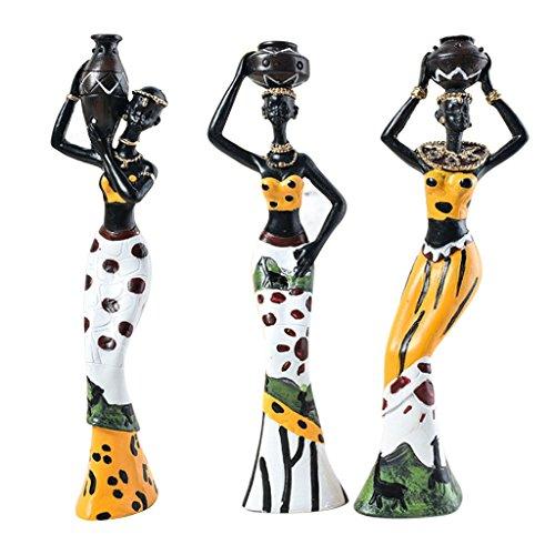 Sharplace 3pcs Afrikanische Frau Deko Figur Dekofigur Afrikanerin Skulptur Statue - Gelb