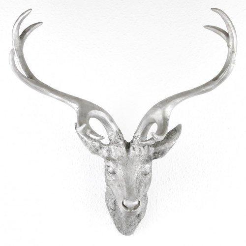 LINDER EXCLUSIV Hirschgeweih Hirschkopf Geweih 10-Ender in Silber Metall-Optik 51 x 60 cm Figur Skulptur Deko